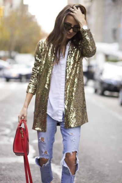 golden oversized sequins with white shirt and boyfriends