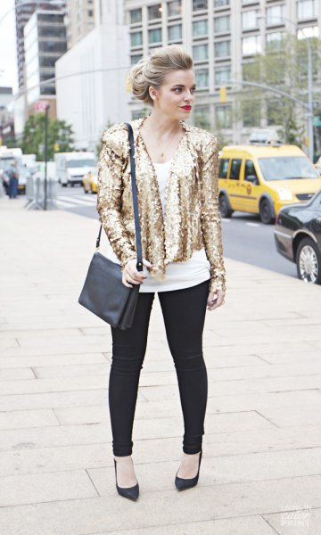 short shiny blazer with black leggings