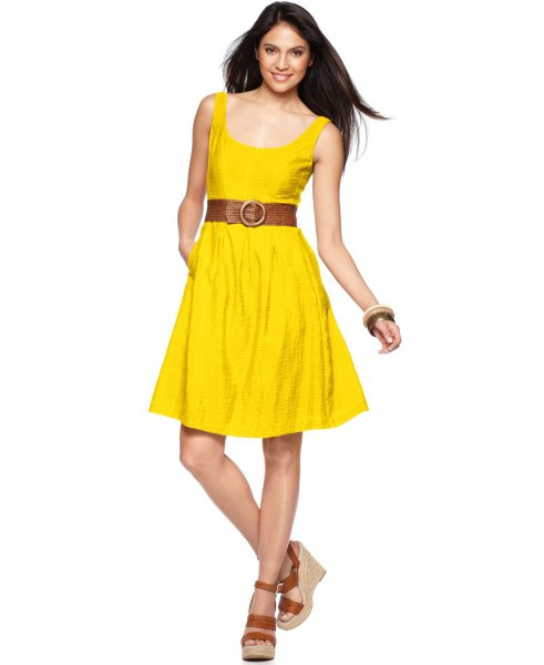 yellow scoop neck belt extended knee length dress