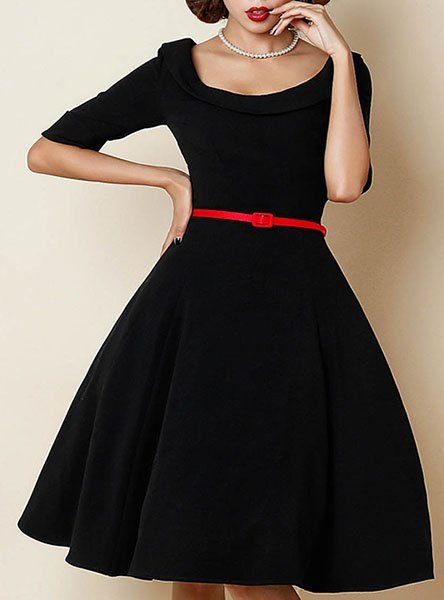 black half-heated fit and flare coated knee-length dress