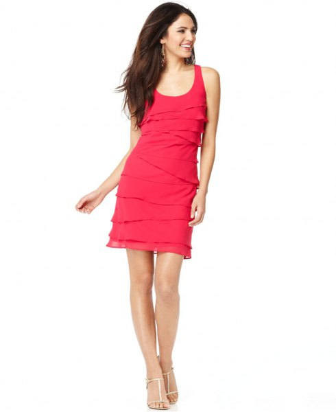 pink multilayer sleeveless mini dress with scoop neck