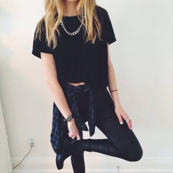 cropped black tee with leather clothes
