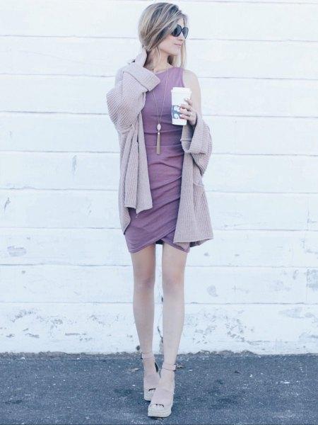 light purple cardigan with matching sleeveless shift mini tulip dress