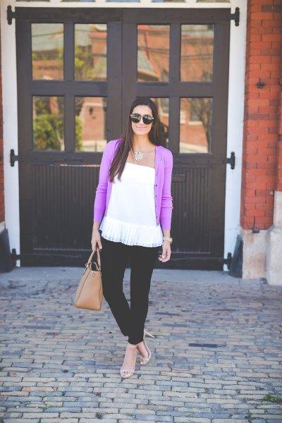 purple cardigan with white strapless peplum top