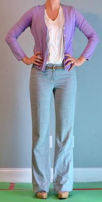 white blouse and gray wide leg pants