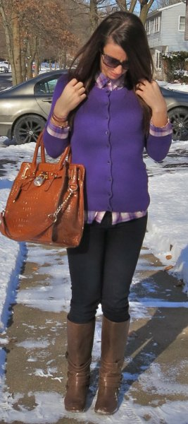 purple buttoned cardigan with navy blue and gray checkered boyfriend shirt