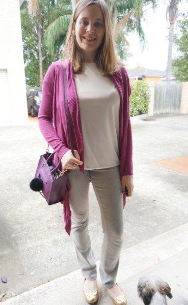 purple cardigan with light pink long sleeve tee
