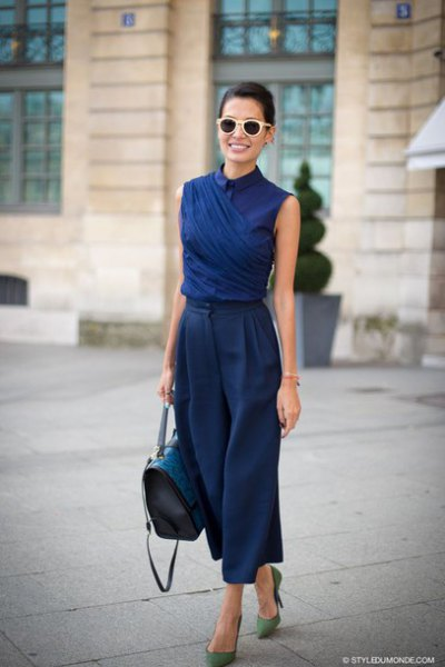 navy sleeveless collar shirt with matching trousers with wide legs