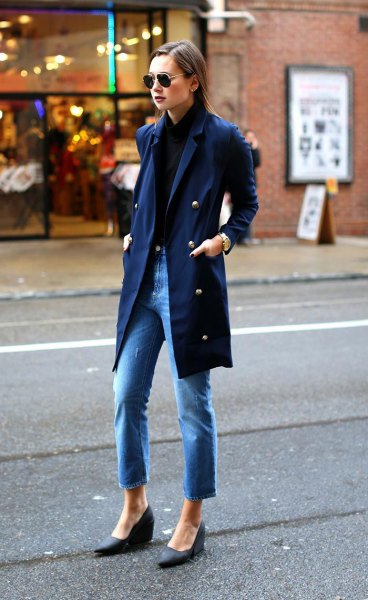 navy blue shirt with matching long trench coat