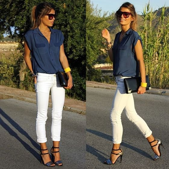 sleeveless butotn shirt with white skinny cuffed jeans