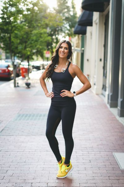 black form fitting top with running tights
