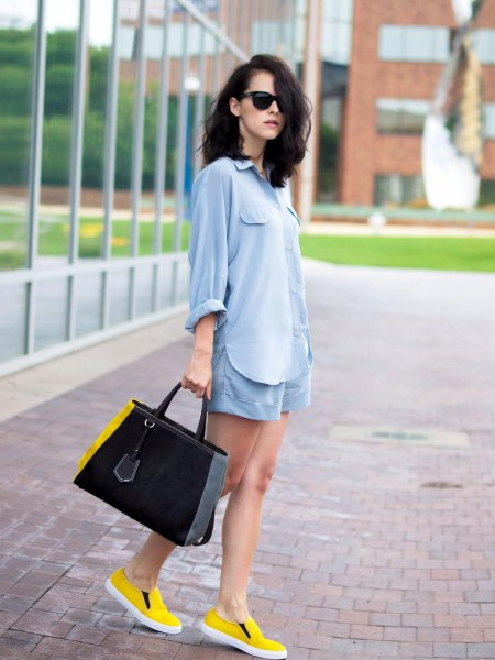 light blue cotton top shirt with matching floating shorts and yellow shoes