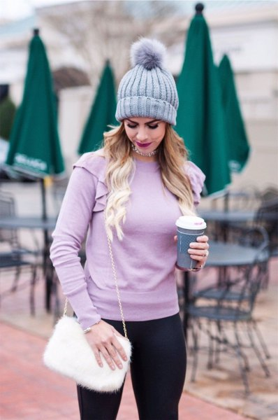 light purple fitted sweater with matching knitted hat