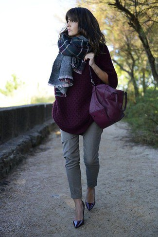 dark purple chunky sweater with plaid wool scarf