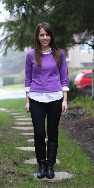 fitted sweater over white shirt