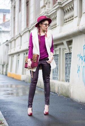 white knitted vest and leggings in black leather
