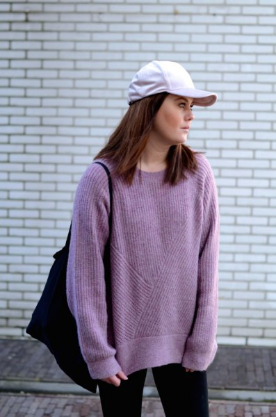 purple oversized sweater with white baseball cap