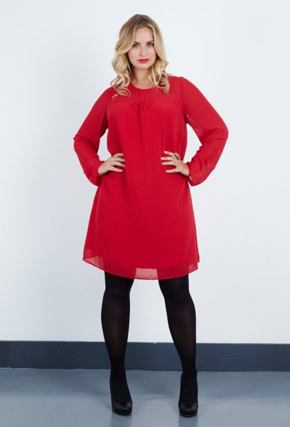 red chiffon flared tunic with black leggings