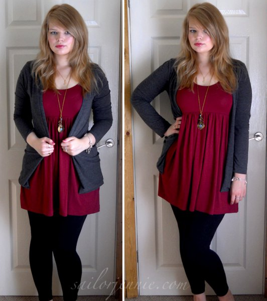 red tunic with gray cardigan and black leggings