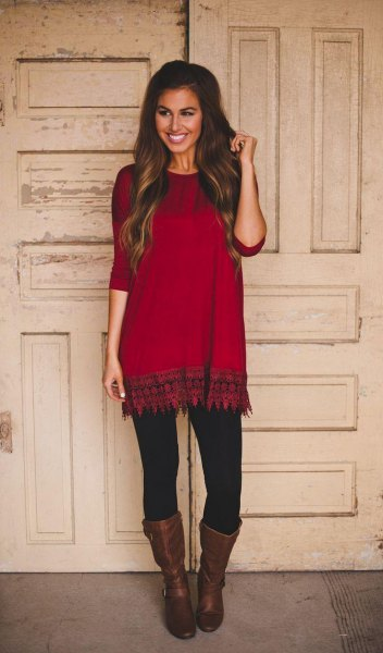 stem printed red and black tunic with middle calf leather boots