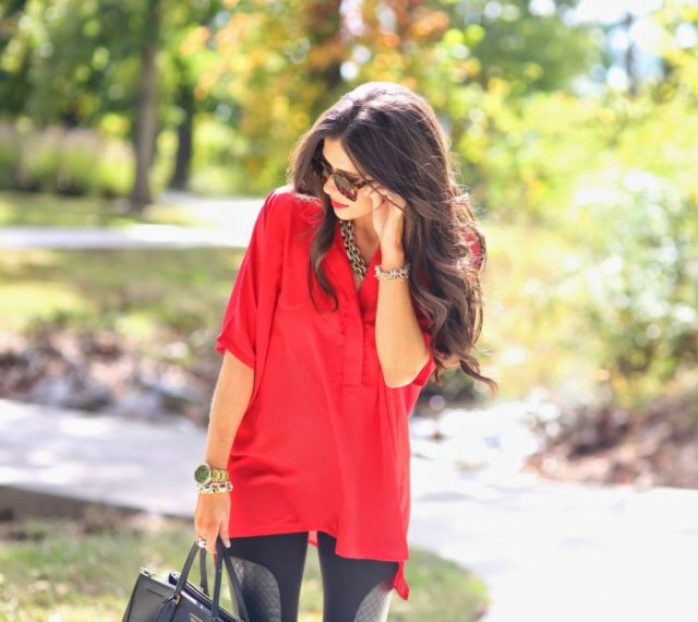 red half-heated tunic top with black leggings