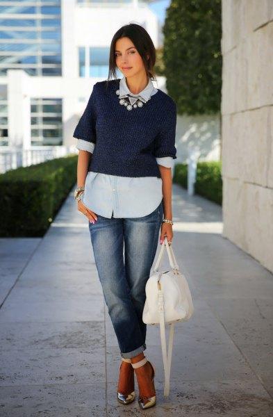 light blue blouse with navy blue short sleeve shirt