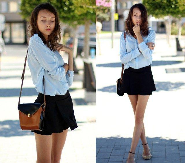 light blue button up chiffon blouse with black floating mini shorts