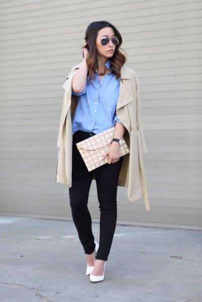 blue button up shirt with light pink long line blazer