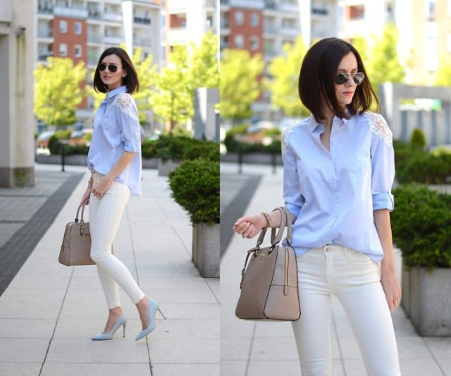 light blue blouse with white skinny jeans