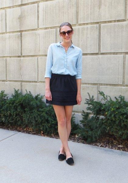 light blue halter blouse with black mini skirt