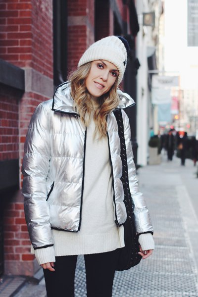 silver jacket with white knitted sweater
