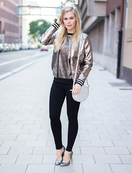 metallic bomber jacket with sequin shirt