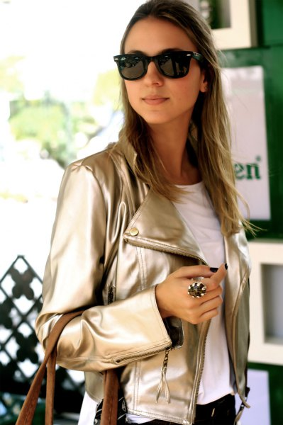 pink gold metallic leather jacket with white tee and black jeans