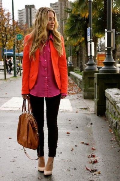 orange blazer with rouge oversized button up shirt