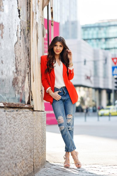 blazer with white chiffon v-neck blouse and cuffed boyfriend jeans