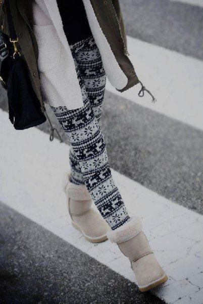 stem printed leggings and fleece jacket and white snow boots