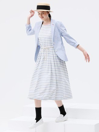 light gray and white striped midi-extended dress with baby blue blazer