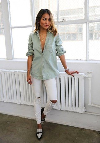 gray button up shirt with ripped jeans and white pointed shoes in toe