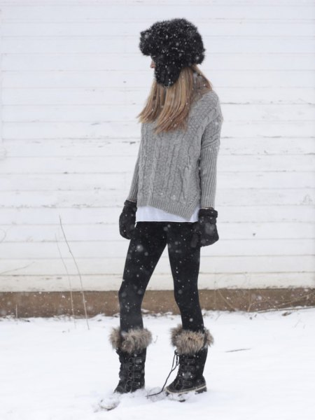 gray knitted sweater with white button shirt and snow boots in fur