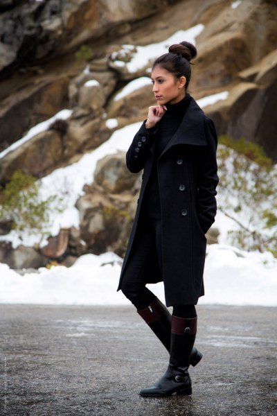 black long-line wool coat with mini dress and high knee boots