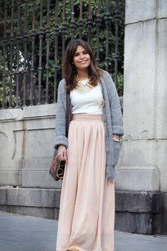 gray sweater cardigan with blush maxi linen skirt