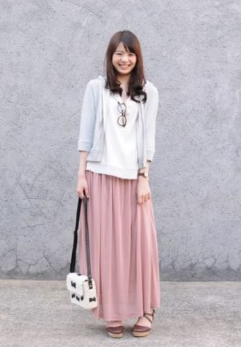 gray tricot sleeveless hooded cardigan with red maxi skirt