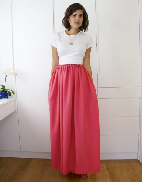 white t-shirt with high waist elasticated waist maxi warm pink skirt