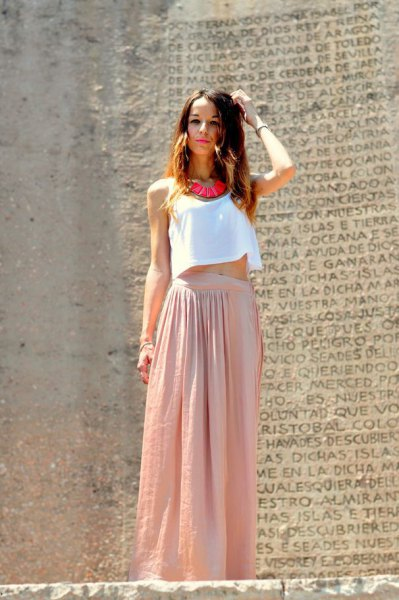 white cropped vest with pink pink maxi skirt