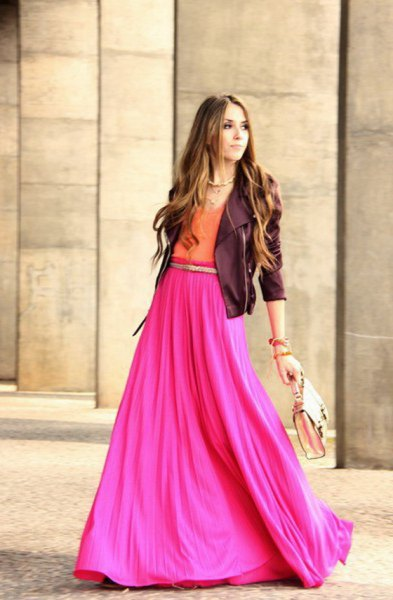 black leather jacket with hot pink maxi skirt