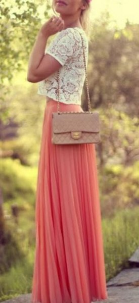 white cropped lace top with blush maxi chiffon skirt