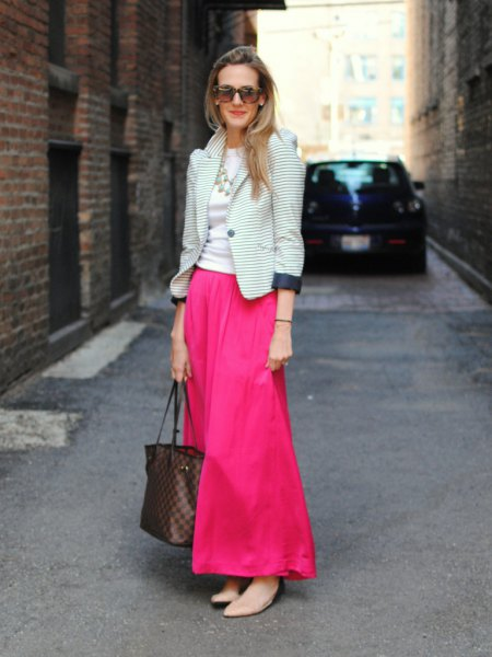 black and white striped blazer with warm pink blown maxi dress