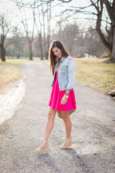 pink deep v-neck skirt dress with blue denim jacket