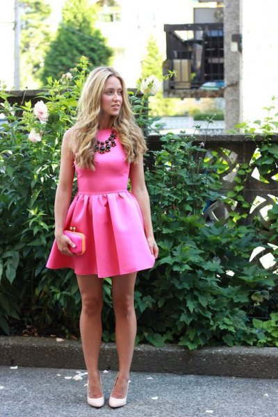 pink pink sleeveless mini skater dress with statement necklace