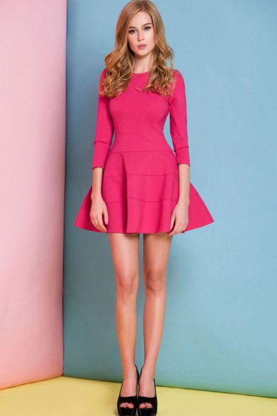 warm pink three quarter sleeve fit and flare mini dress